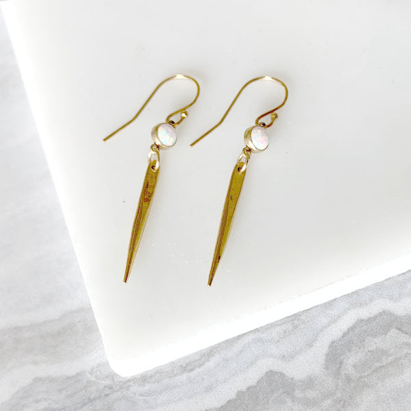 Dainty Dagger Dangle Earrings with Opal in Gold