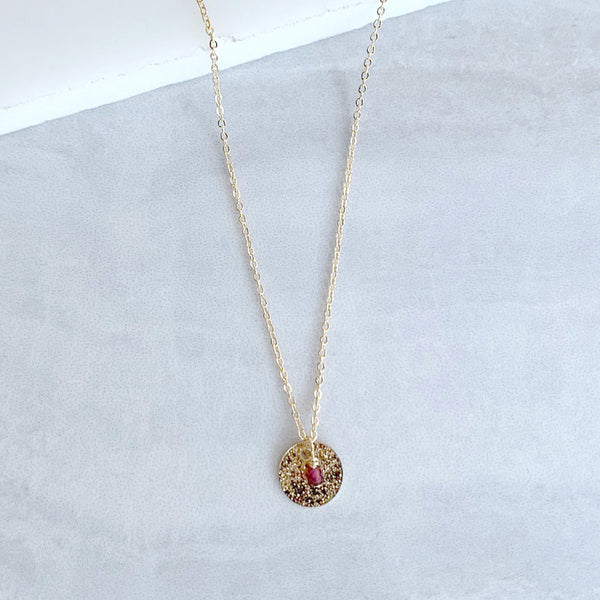 Birthstone and Disc Necklace in Gold