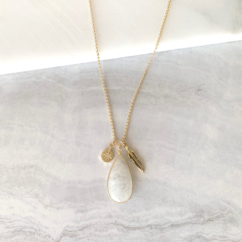 Charm Necklace With Moonstone in Gold