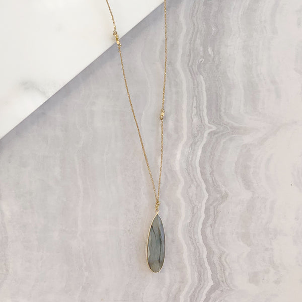 Long Knotted Necklace with Labradorite
