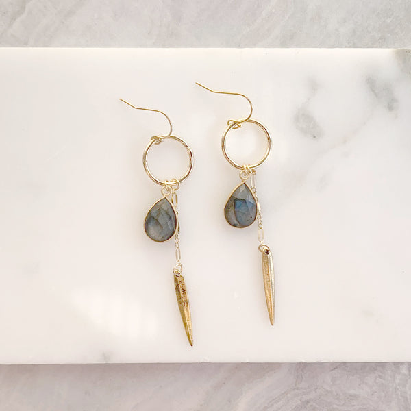 Teardrop Spike Earrings with Moonstone