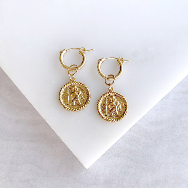 Medallion  Dangle Earrings in Gold