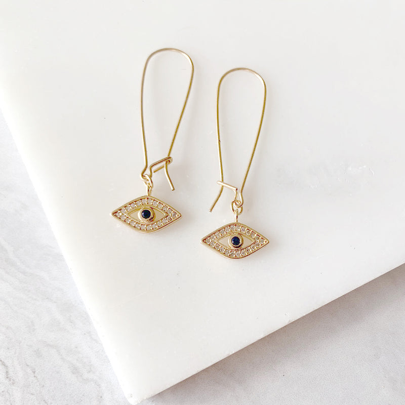 Evil Eye Dangle Earrings in Gold