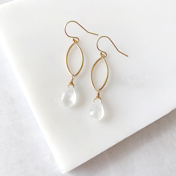 Dangle Drop Earrings with Moonstone in Gold