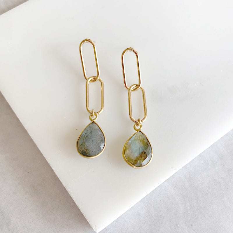 Paperclip Chain Dangle Earrings with Labradorite