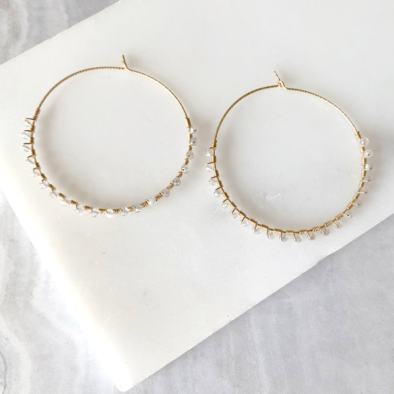 Hand Wrapped Hammered Hoop Earrings with Moonstone