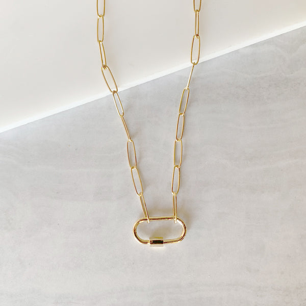Link Chain Screw Clasp Necklace in Gold