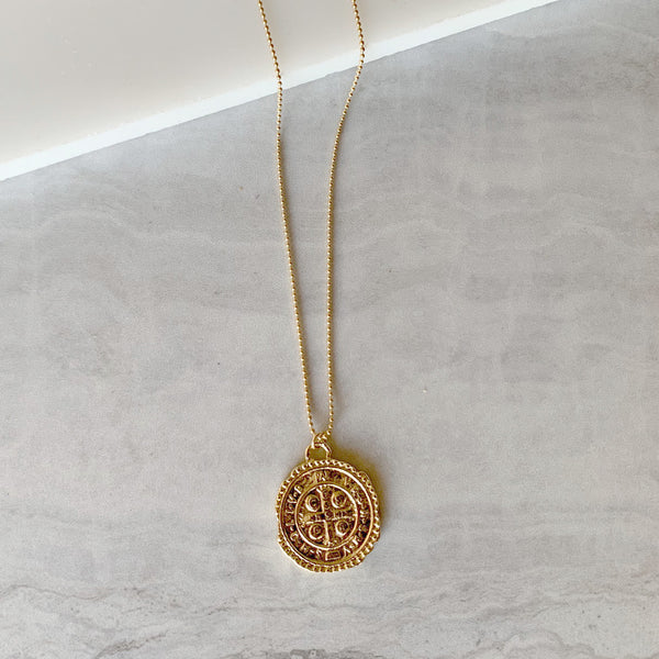 Roman Coin Medallion Necklace in Gold