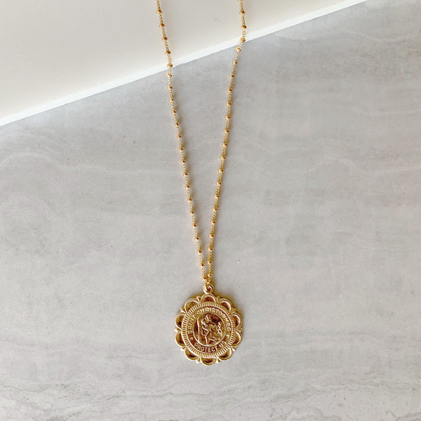 Saint Christopher Medallion Necklace in Gold
