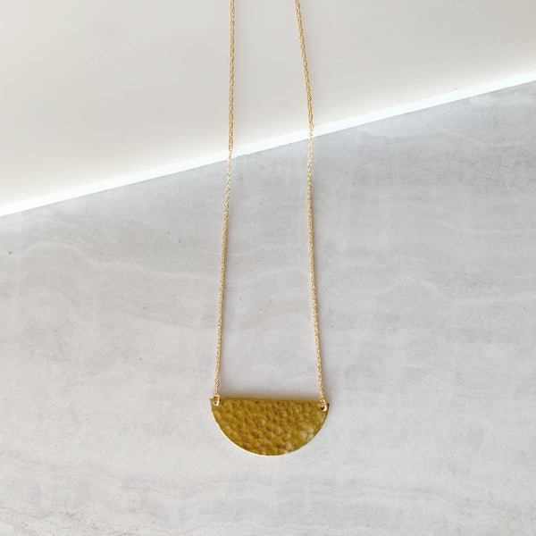 Small Brass Hammered Half Moon Necklace in Gold