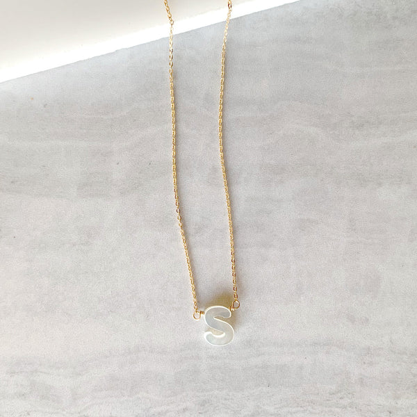 Mother of Pearl Hand Carved Initial Necklace in Gold