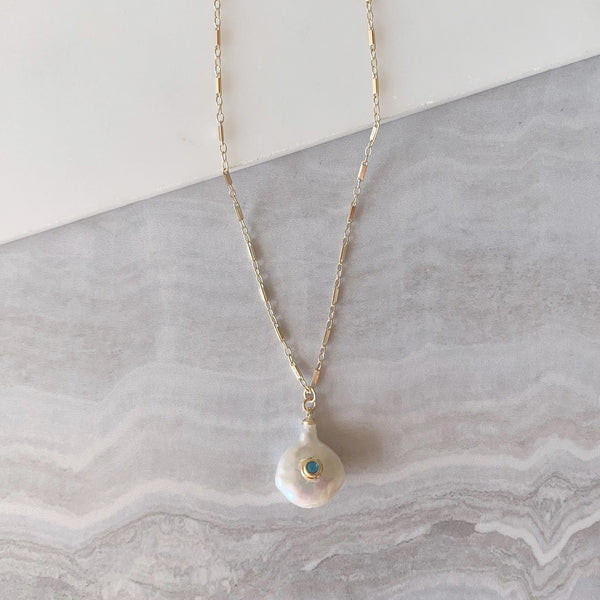 Fresh Water Pearl Drop Necklace with Turquoise Bezel