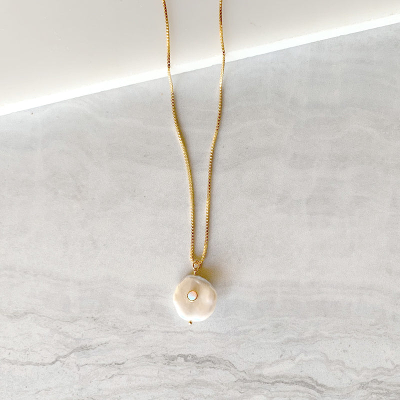 Fresh Water Pearl Drop Necklace with Opal Bezel