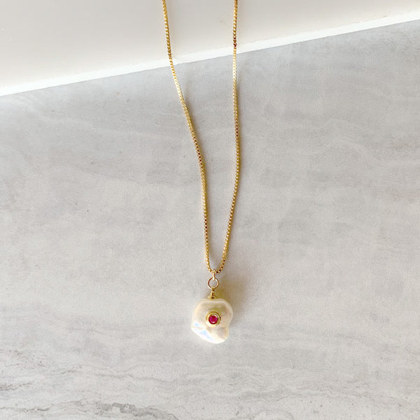 Fresh Water Pearl Drop Necklace with Ruby Bezel