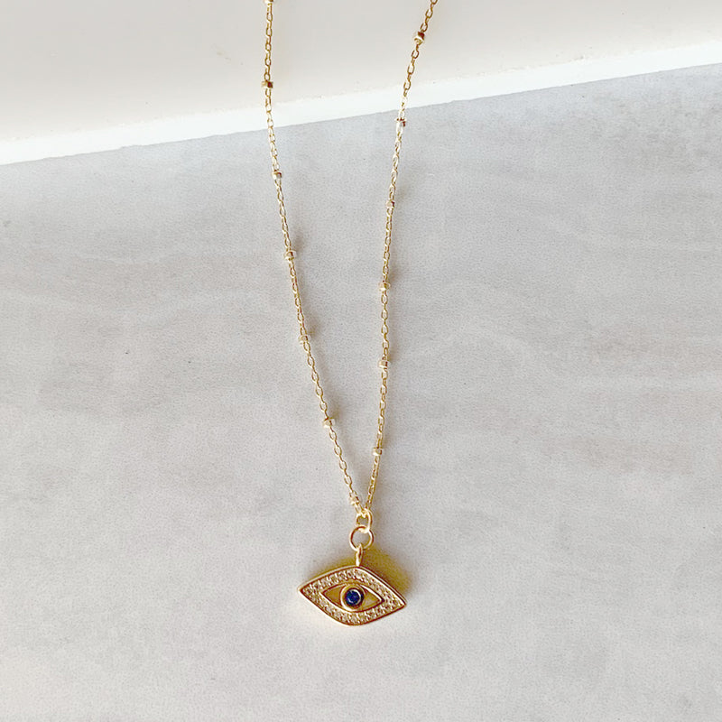 Evil Eye Charm on Cluster Chain Necklace in Gold