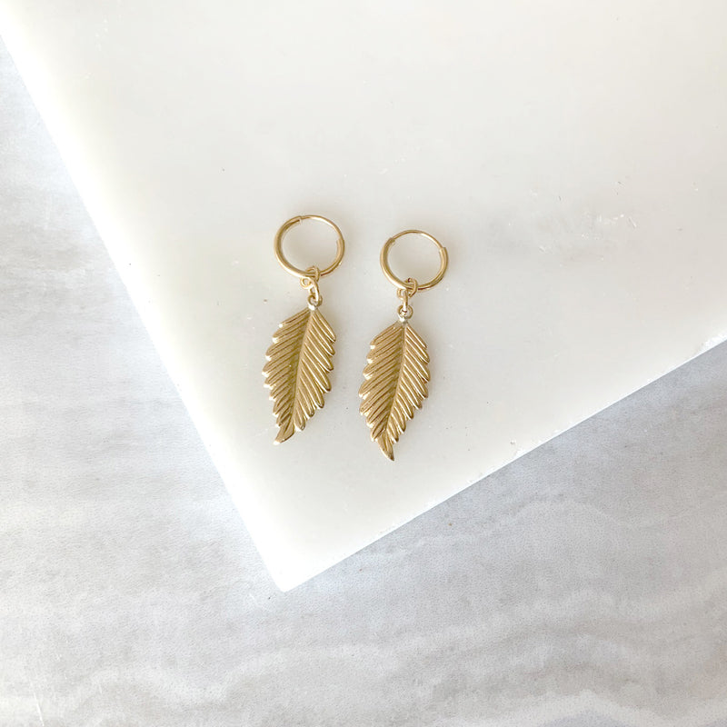 Feather Charm Earrings in Gold