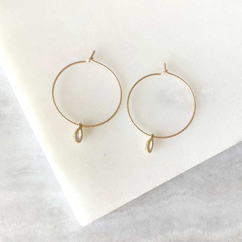 Dainty Hammered Hoop Earrings with Gemstone in Gold