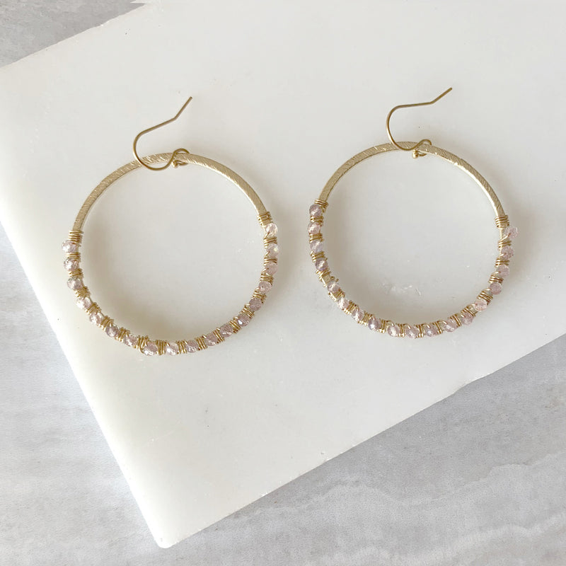 Beaded Wire Wrap Hoop Earrings with Rose Quartz