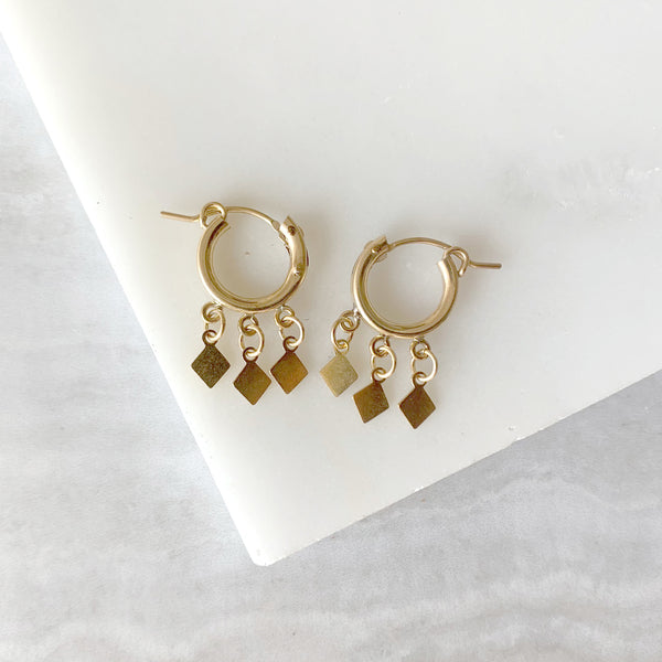 Dangle Hoop Flutter Earrings in Gold