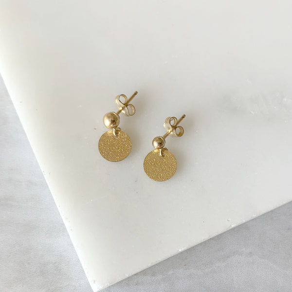 Ball Post Dangle Earrings with Gold Disk in Gold