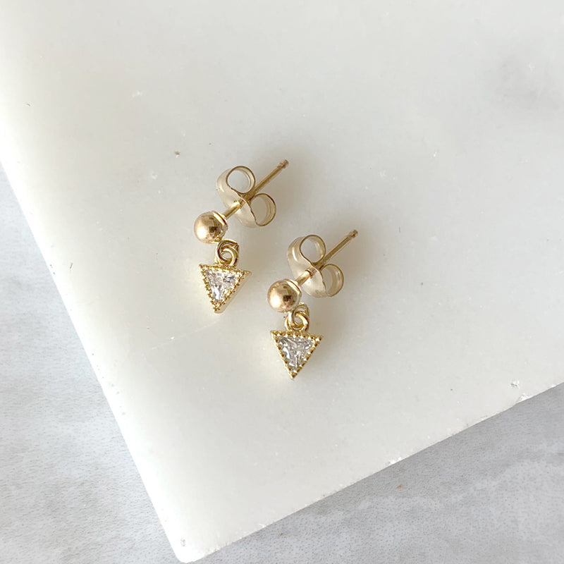 Ball Post Dangle Earrings with Crystal Triangle