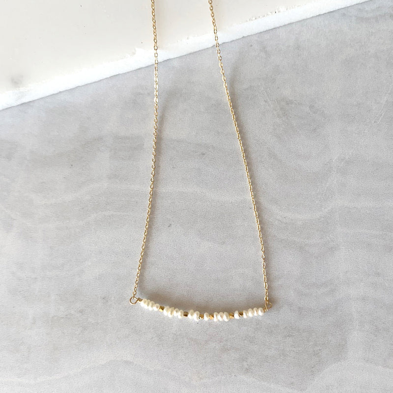 Beaded White Pearl Bar Necklace in Gold