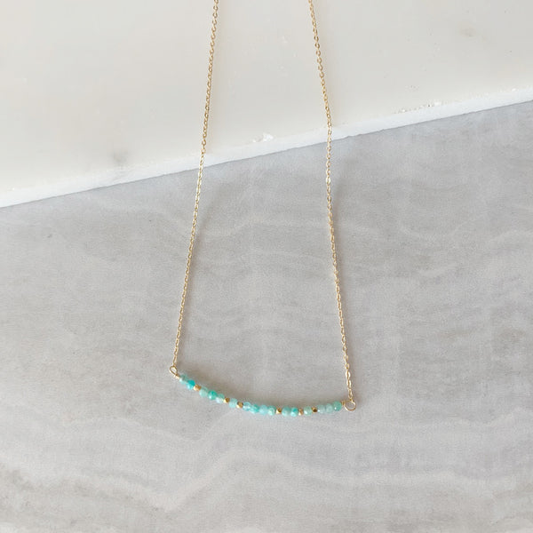 Beaded Amazonite Bar Necklace in Gold