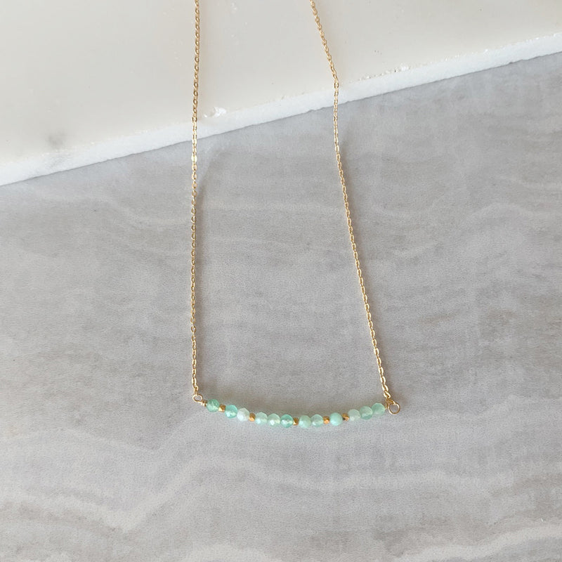 Beaded Chrysoprase Bar Necklace in Gold