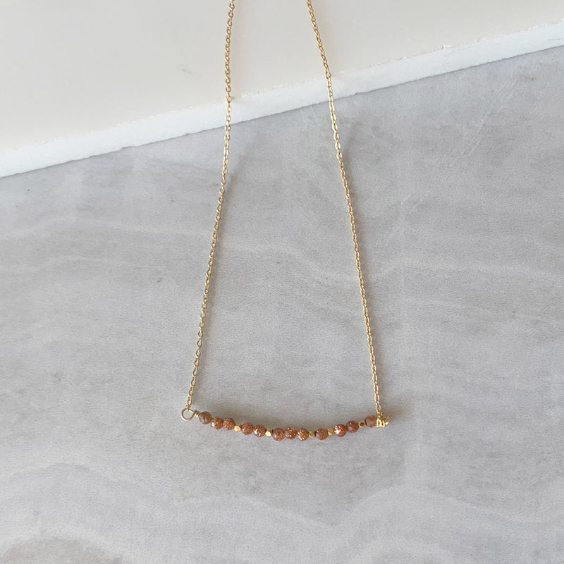 Beaded Goldstone Bar Necklace in Gold