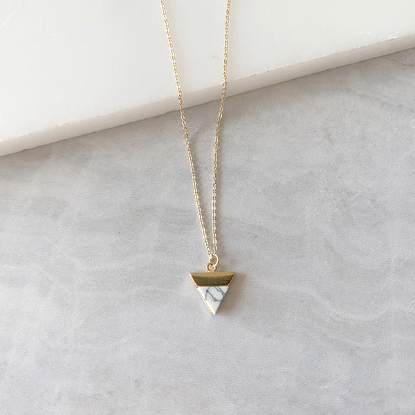 Triangle Pendant Necklace with White Howlite