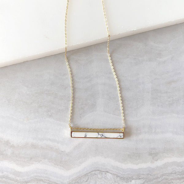 White Bar Pendant Necklace in Gold