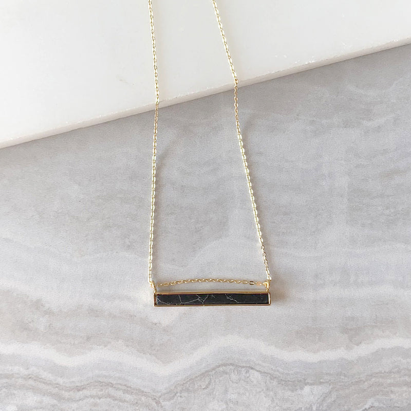 Black Bar Pendant Necklace in Gold