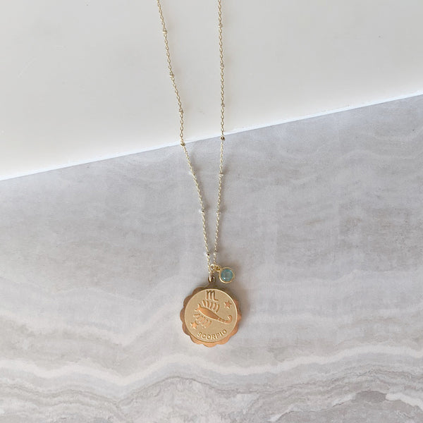 Zodiac Necklace with Birthstone in Gold