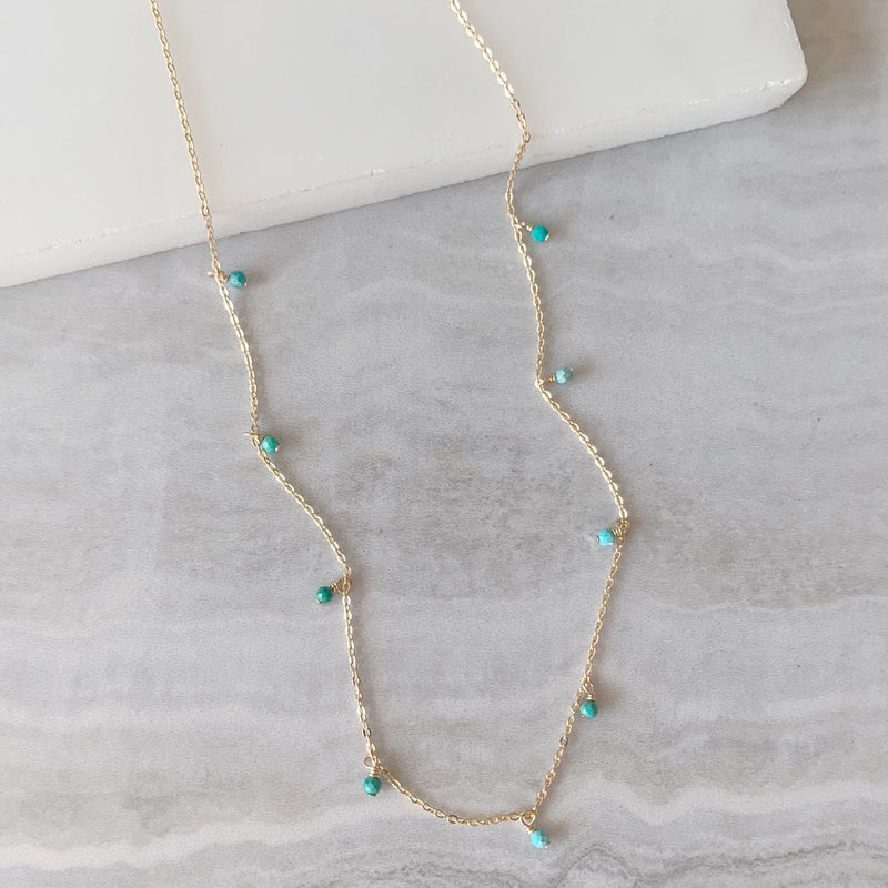 Turquoise Dainty Dangle Necklace in Gold