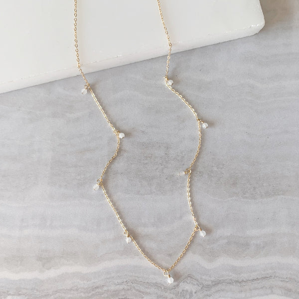 Moonstone Dainty Dangle Necklace in Gold