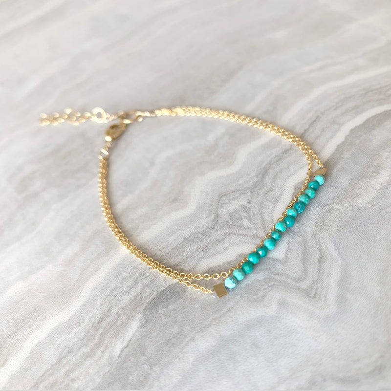 Dainty Healing Turquoise Bracelet in Gold