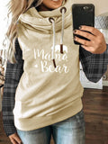 Khaki Hoodie Patchwork Casual Cotton-Blend Sweatshirt - Durrye