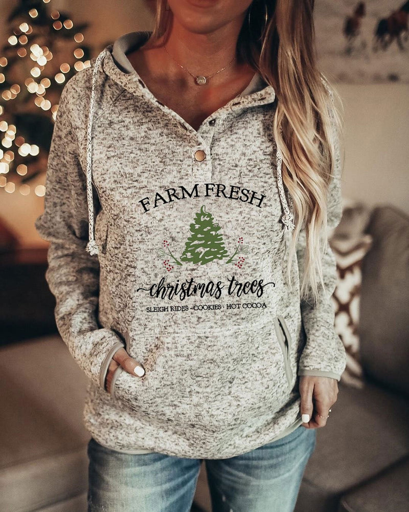 Women's Farm Fresh Christmas Trees Sleigh Rides Cookies Hot Cocoa Print Hoodie - Durrye