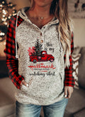 Women Christmas Plaid Slogan Letter Long-sleeve Pockets Hoodies - Durrye