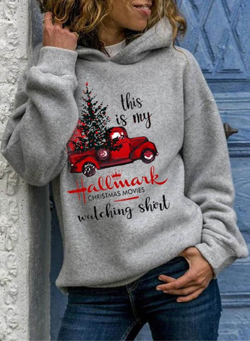 Women's Hoodies Christmas Gray Casual Long Sleeve Hoodie - Durrye