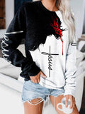 Women's Jesus Tattoo Print Cozy Sweatshirt - Durrye
