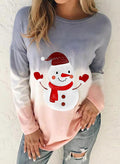 Women 's Sweatshirts Christmas Round Neck Long Sleeve Color Block Snowman Sweatshirts - Durrye