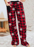 Woman's Christmas Mid Waist Striped Casual Plaid Pants - Durrye