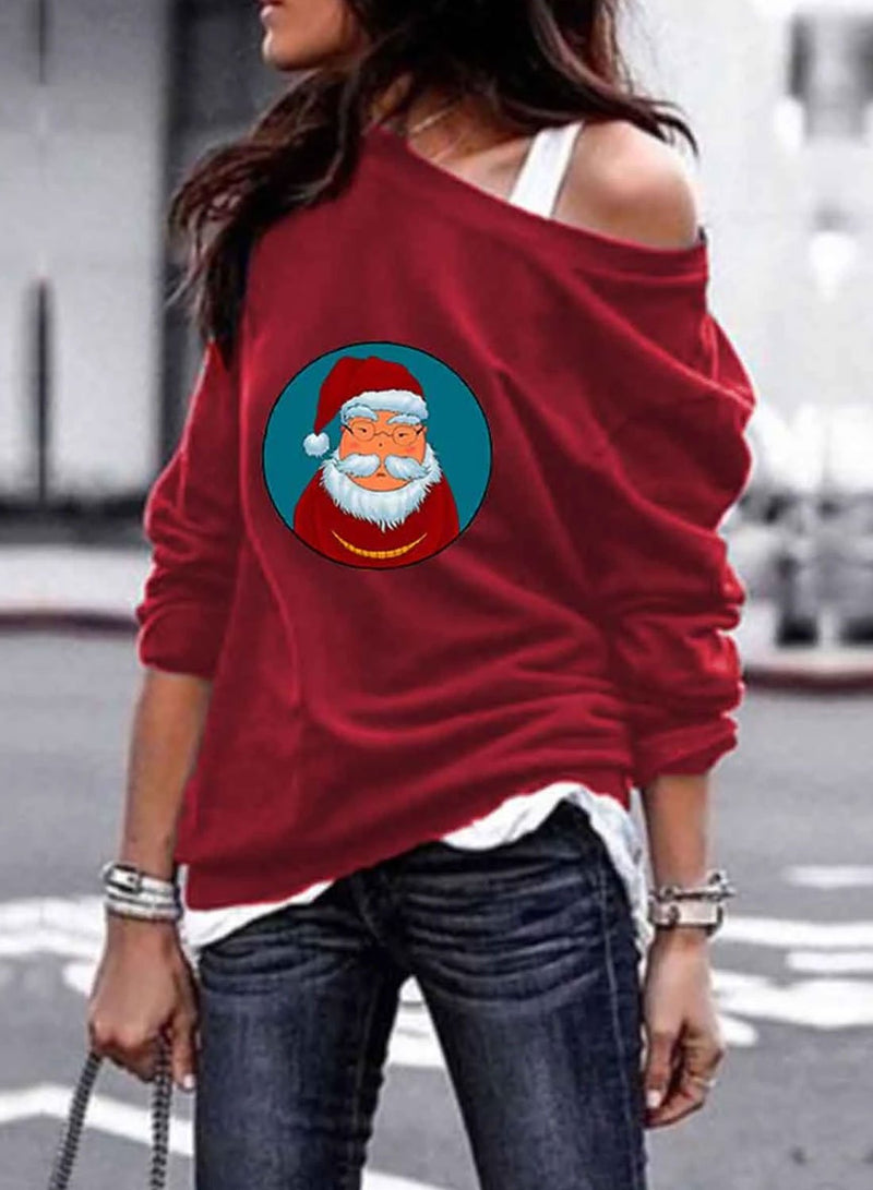 Women's Sweatshirts Christmas Round Neck Off Shoulder Long Sleeve Solid Sweatshirts - Durrye