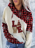 Women's Hoodies Christmas Drawstring Long Sleeve Leopard Plaid Hoodies With Pockets - Durrye