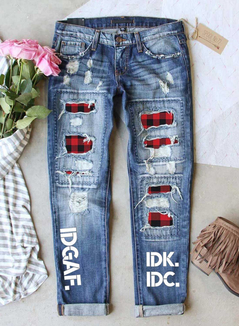 Women's Jeans Plaid Letter Print Straight Mid Waist Full Length Ripped Jeans - Durrye
