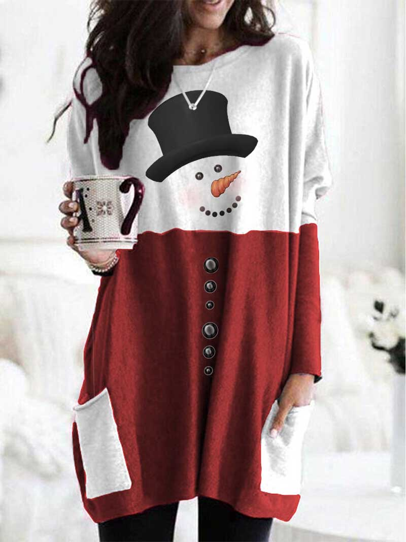 Women's Snowman Print Long Sleeve Top - Durrye
