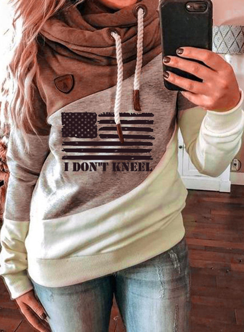 Women's Hoodies Pocket Flag Hoodie - Durrye