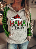 Women's Hoodies Christmas Drawstring Long Sleeve Plaid Hoodies With Pockets - Durrye