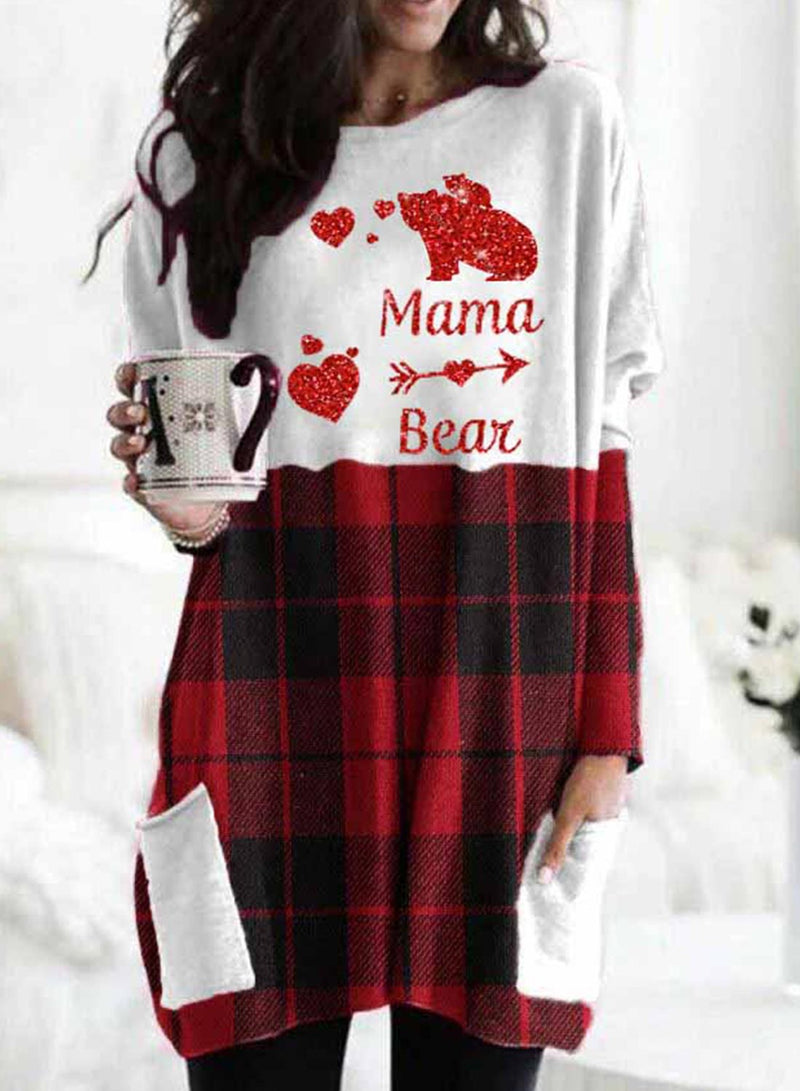 Women's Sweatshirts Plaid Letter Animal Print Christmas Long Sleeve Round Neck Sweatshirt - Durrye